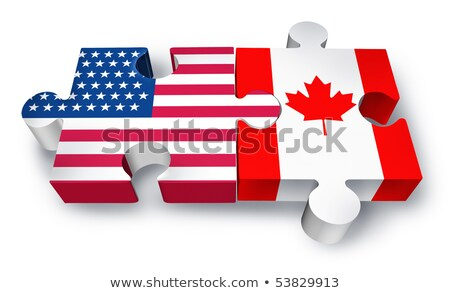 usa and canada flags in puzzle stock photo © istanbul2009