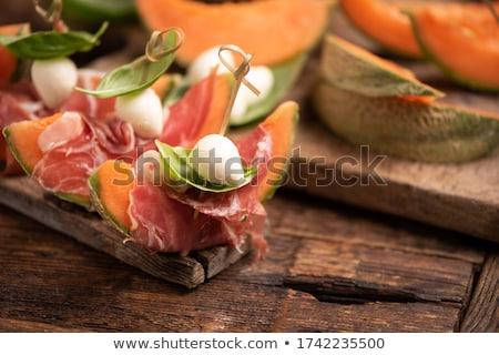 salade · meloen · kaas · bal · gezonde · kom - stockfoto © M-studio