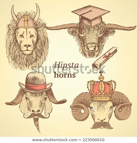эскиз лев коза бык Сток-фото © kali