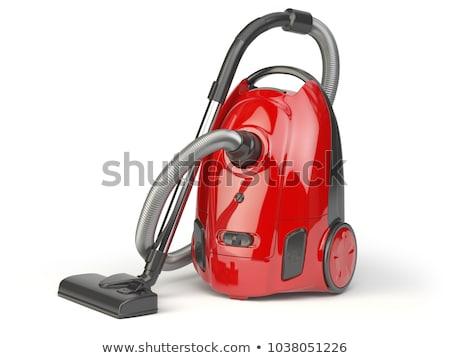Stockfoto: Stofzuiger · geïsoleerd · witte · Rood · machine · schoonmaken