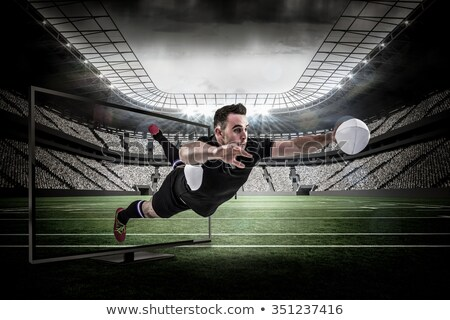 Rugby player jumping for try Stock photo © patrimonio