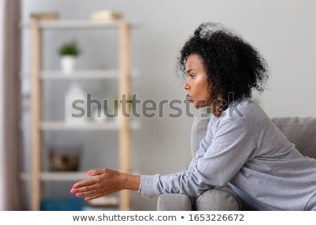 что · молодые · разочарование · женщину · сидят · кровать - Сток-фото © stockyimages