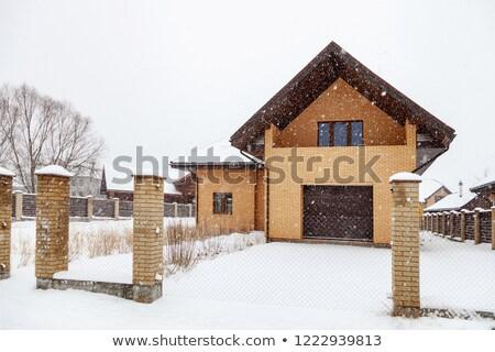 Telhado windows neve casa edifício madeira Foto stock © smuki