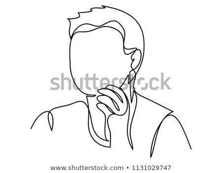 cartoon arrogant boss man with thought bubble Stock photo © lineartestpilot