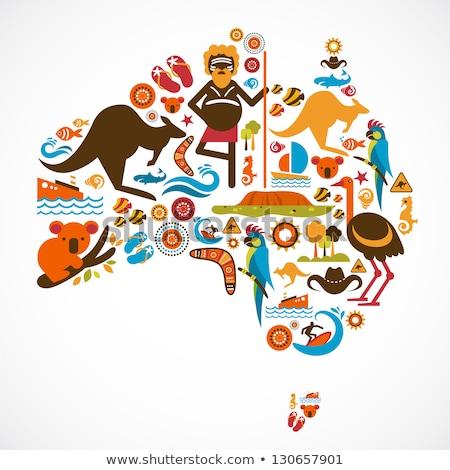 Foto stock: Símbolo · Austrália · mapa · botão · bandeira · branco