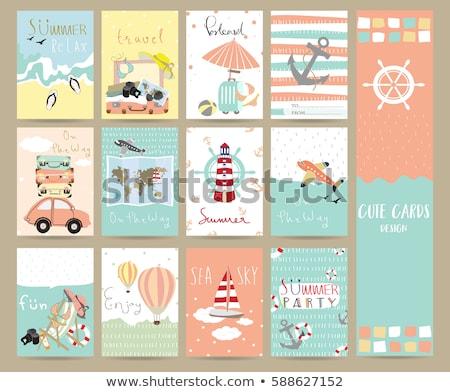 Summer travel congratulation card, vector illustration Stock photo © carodi