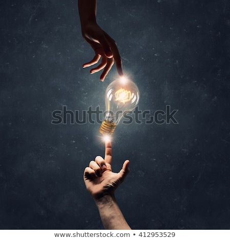 creative bulb connect with hand finger stock photo © vgarts