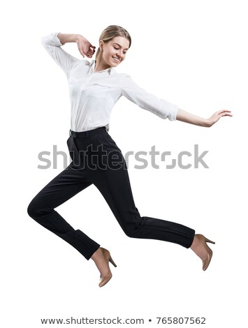 young business woman jumping high stock photo © uleiber