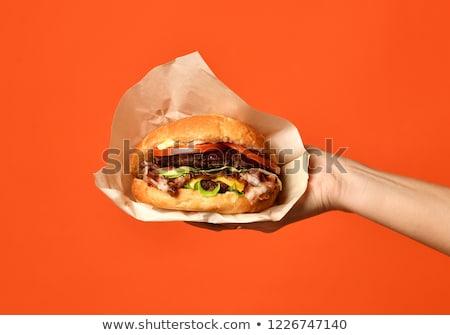 Closeup of Hamburger with Fresh Vegetables and Drink Stock photo © Kayco