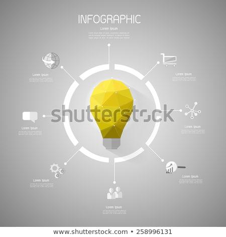 modern vector abstract 3d light-bulb infographic elements Stock photo © jiunnn