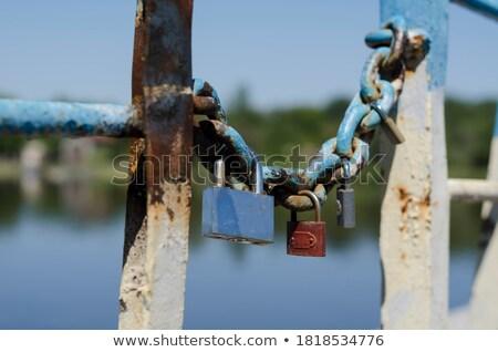 Metaal hangslot geheugen brug symbool liefde Stockfoto © master1305