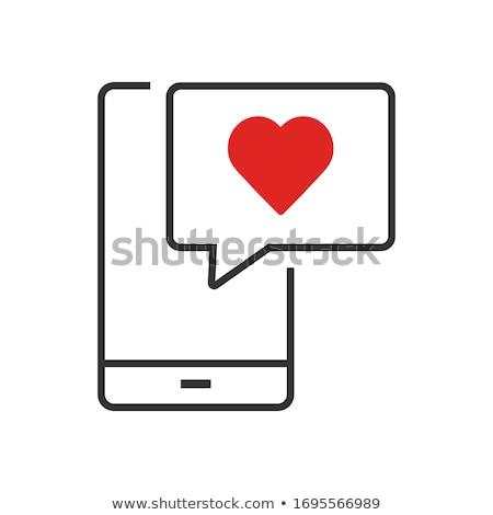 Phone Red Vector Icon Design Stock photo © rizwanali3d