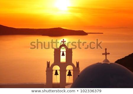 Grego igreja sino blue sky nublado atravessar Foto stock © icefront
