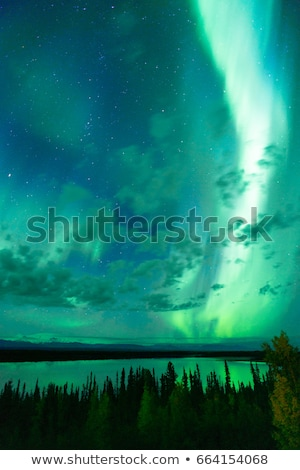 The Aurora Borealis emerges through clouds remote Alaska Stock photo © cboswell
