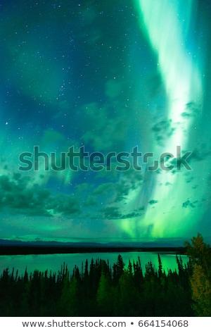 the aurora borealis emerges through clouds remote alaska stock photo © cboswell
