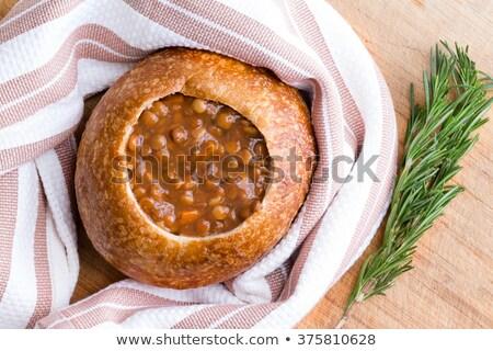 Lentil soup in a sourdough bread bowl Stock photo © ozgur