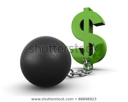 Ball Kette Dollarzeichen Gold Metall Zeichen Stock foto © cherezoff