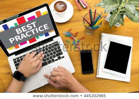 Improve Your Performance Concept. Person Click Keyboard Button. Stock photo © tashatuvango