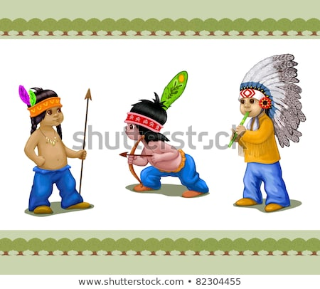 cartoon american indian brave with a spear stock photo © antonbrand