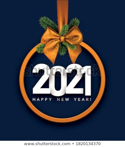 új év karácsony kék narancs játékok gömb alakú Stock fotó © your_lucky_photo