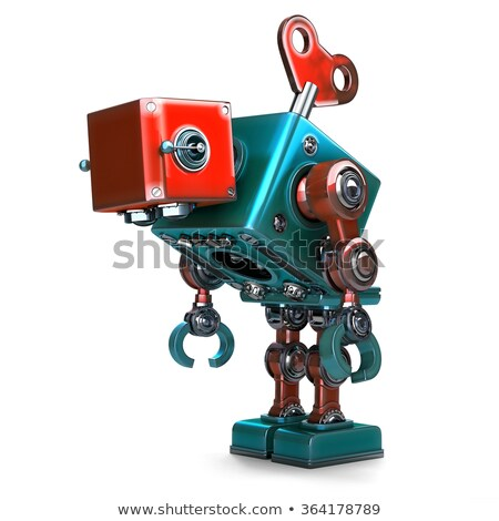 Wind-up overworked Robot with key sticking into his back. Isolated. Contains clipping path Stock photo © Kirill_M