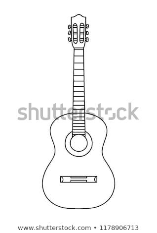Akusztikus gitár egyszerű színek zene háttér kő Stock fotó © shawlinmohd
