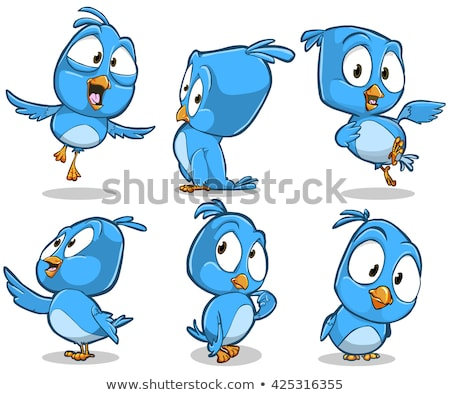 set of funny blue bird cartoon character with different poses stock photo © ridjam