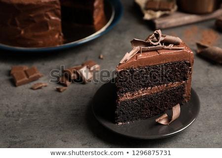 Sponge cake dessert with sweet chocolate glaze Stock photo © LoopAll