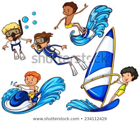 дети различный водные виды спорта рисунок белый Сток-фото © bluering
