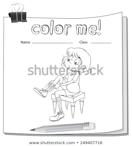 A worksheet showing a girl fixing her shoes Stock photo © bluering