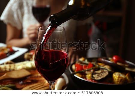 wijn · houten · oppervlak · voedsel · brood · vakantie - stockfoto © racoolstudio