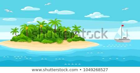 Nature scene with island on the ocean Stock photo © bluering