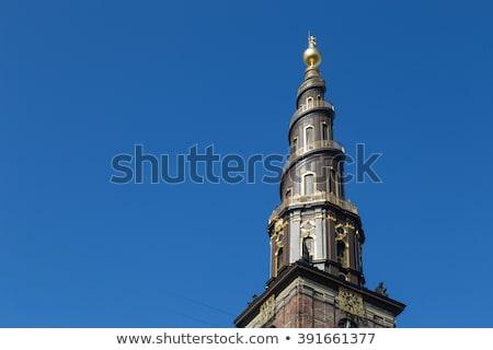 Kilátás torony Koppenhága Dánia égbolt város Stock fotó © vladacanon