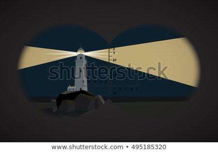 表示 双眼鏡 灯台 岩 1泊 海 ストックフォト © Evgeny89