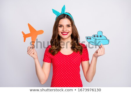 A vintage orange and gray coloured plane Stock photo © bluering