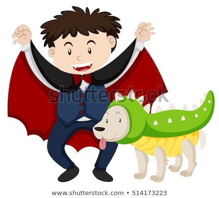 Menino vampiro cão dinossauro ilustração criança Foto stock © bluering