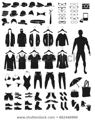 vetor · conjunto · moda · ícones · roupa · silhuetas - foto stock © panaceadoll