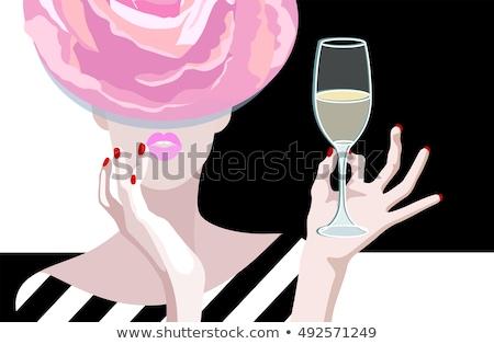 Stockfoto: Mooie · meisje · glas · champagne · mooie · mooie · vrouw