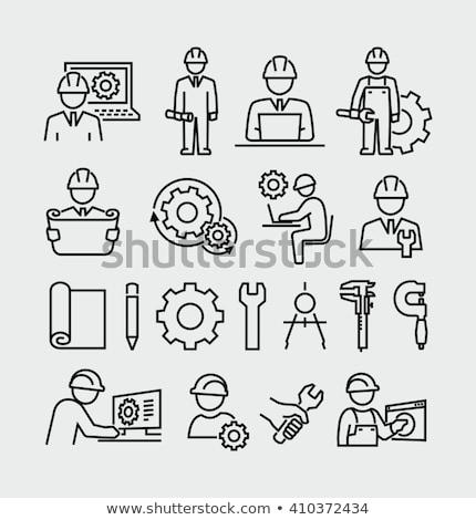 inżynier · żółty · wektora · ikona · projektu · cyfrowe - zdjęcia stock © sdcrea