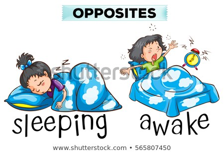 Opposite wordcard with word sleeping and awake Stock photo © bluering
