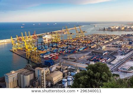Barcelona industrial puerto España mar noche Foto stock © joyr