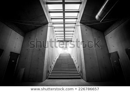 industrial warehouse concrete staircase black and white stock photo © stevanovicigor