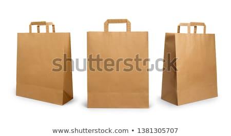 ストックフォト: ショッピング · 紙袋 · 紙 · ロープ · 孤立した · 白