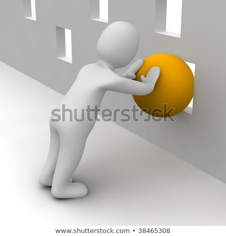 3d small people - pushes the ball Stock photo © AnatolyM