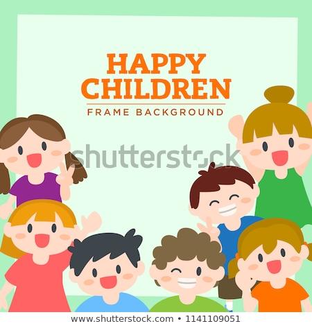 フレーム · ボード · 幸せ · 子供 · 実例 · テクスチャ - ストックフォト © bluering