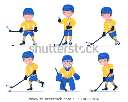 Vector flat style illustration of hockey player.  Stock photo © curiosity