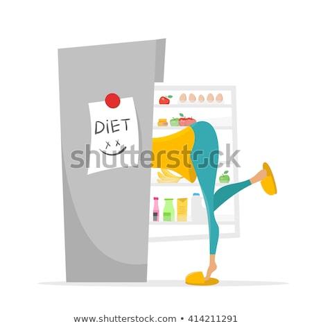 Illustratie meisje zoeken iets eten koelkast Stockfoto © curiosity