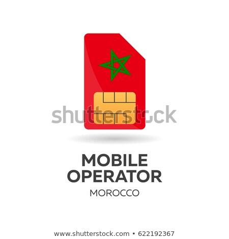 Morocco mobile operator. SIM card with flag. Vector illustration. Stock photo © Leo_Edition
