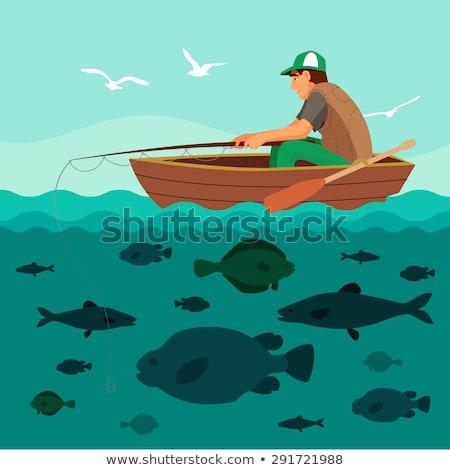 barco · pescaria · desenho · céu · homem · esportes - foto stock © loopall