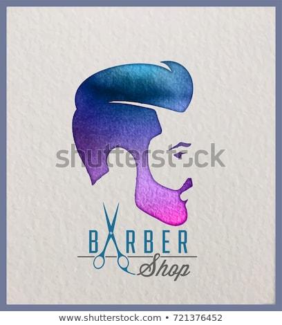 Barbero tienda logo emblema peluquero hombres Foto stock © popaukropa